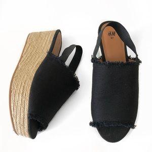 Shoes - Black Wedge Platform Slingback Tweed Sandal